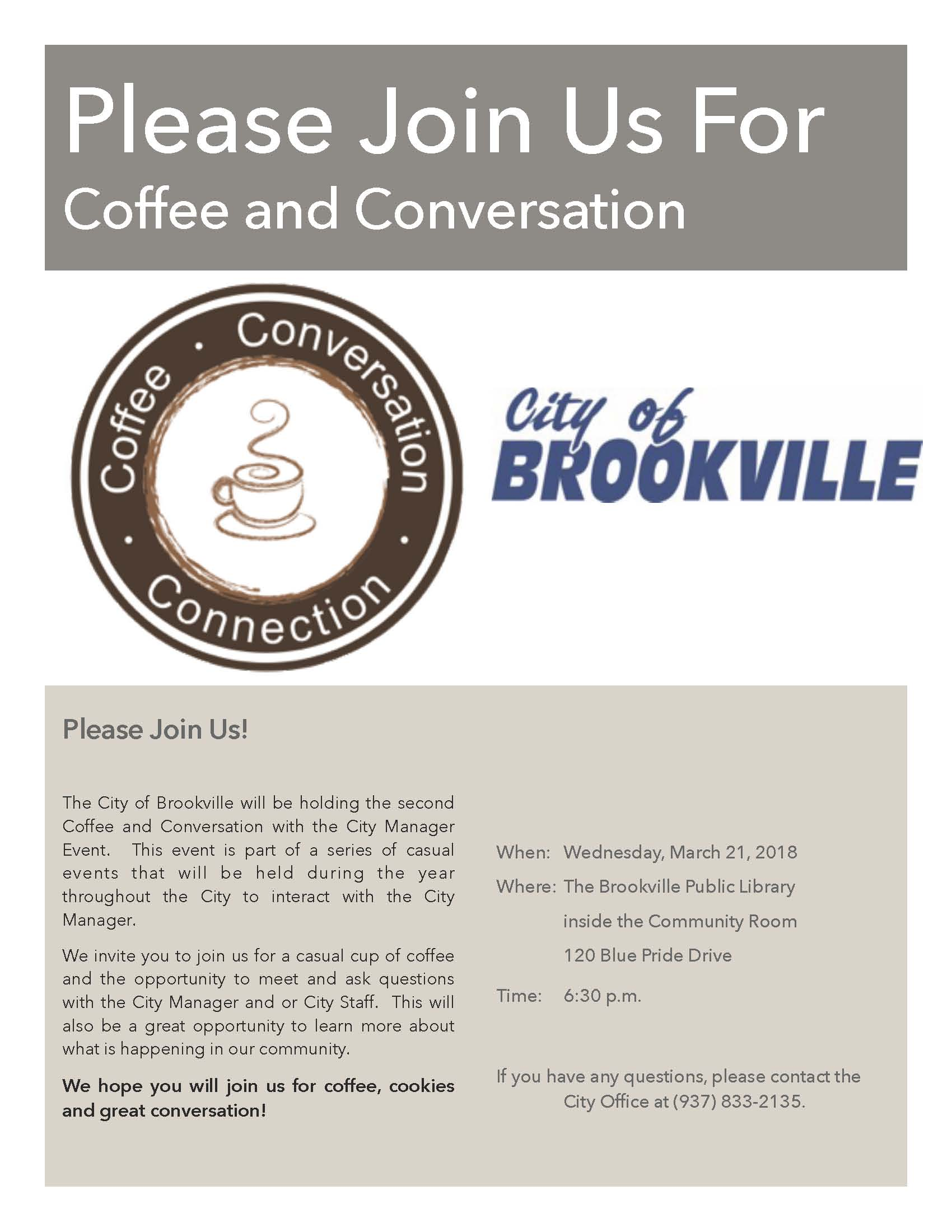 Coffee and conversation invite March 2018